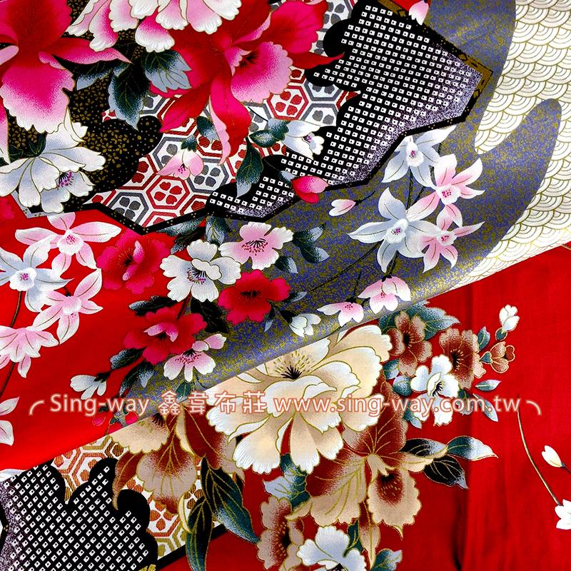 和風深山櫻 日式和風燙金花卉 精梳棉床品床單布料 節慶佈置 紅包袋 CA490209