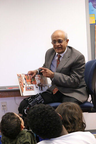 Sonny Ramaswamy speaking about food safety and other issues to students