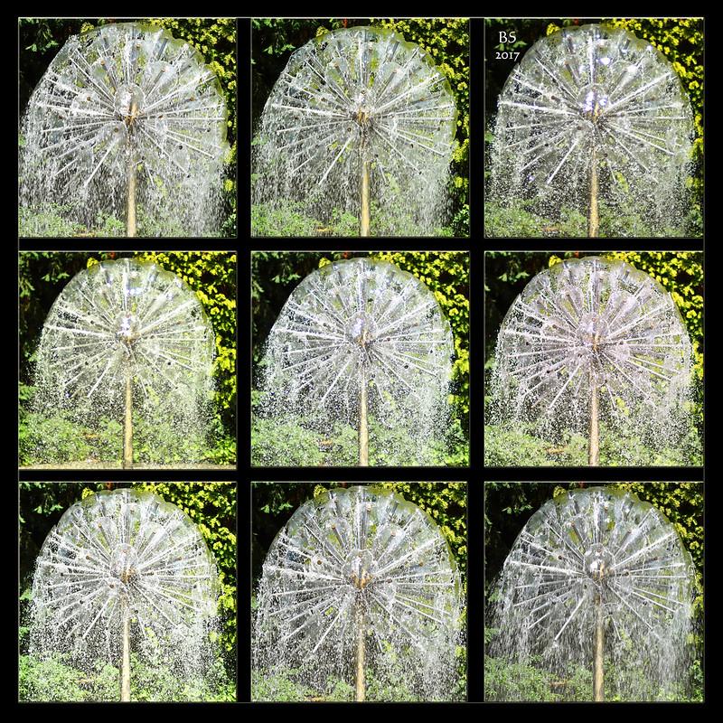 Der Igelbrunnen / Wasserigel im Herzogenriedpark Mannheim ... Pusteblume ... Blendenreihen, Verschlusszeiten, Wasser einfrieren, Schleiereffekt ... Fotos und Fotocollage: Brigitte Stolle, Juni 2017