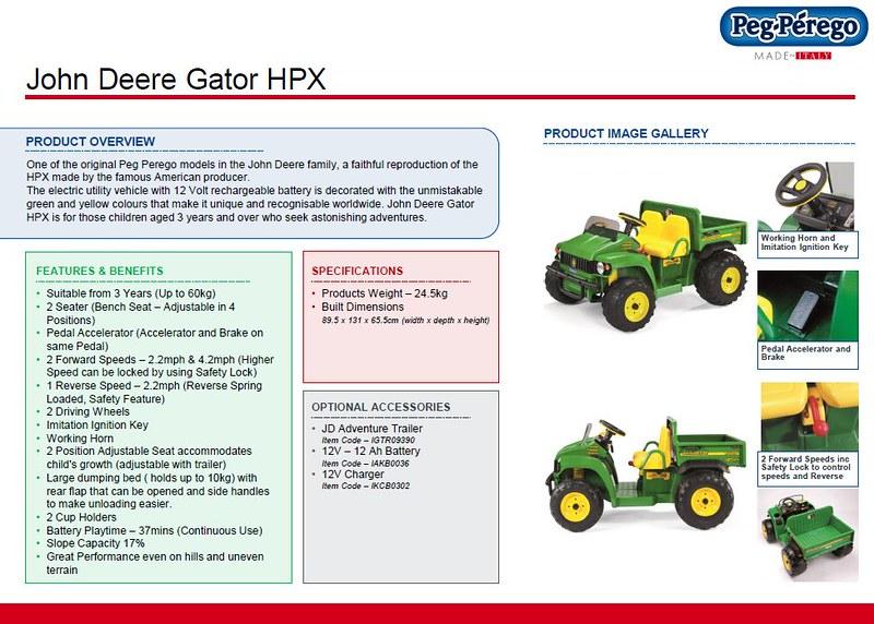John Deere Gator Prices >> PEG PEREGO JOHN DEERE GATOR HPX RIDE ON TOY 12V BATTERY ELECTRIC KIDS CHILDREN | eBay