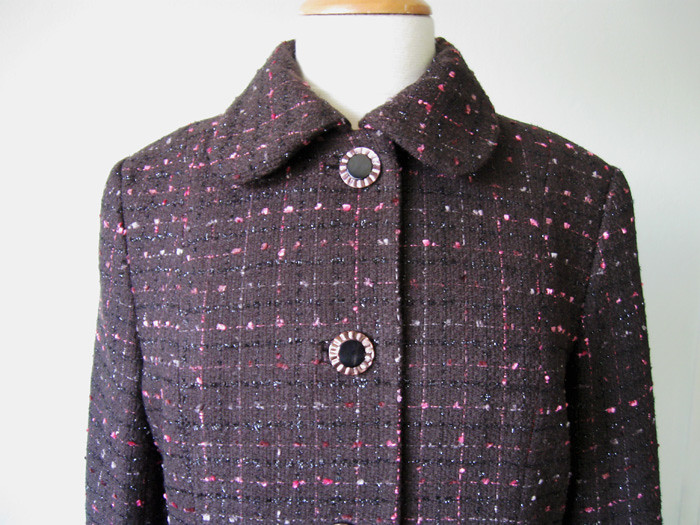 boucle coat front close up