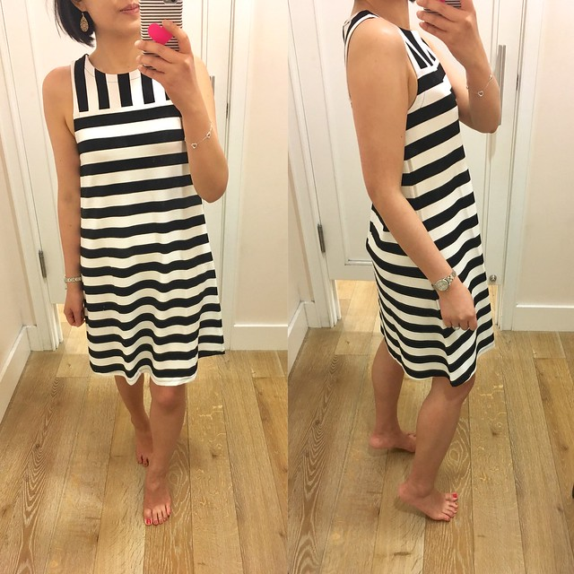 LOFT Mixed Stripe Sleeveless Swing Dress, size XXSP