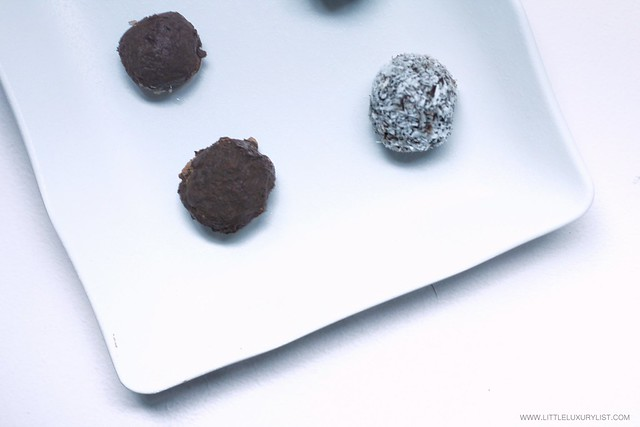 Healthy Chocolate Date Truffles on white plate