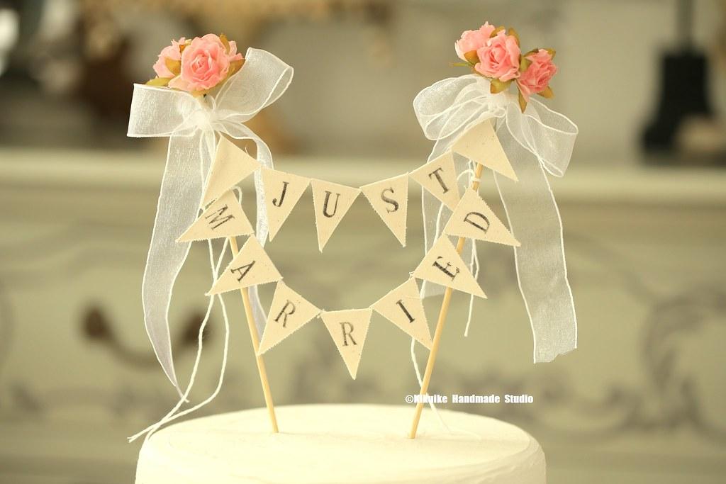 Just Married Wedding Cake Banner,Flower Cake bunting,Rusti… | Flickr