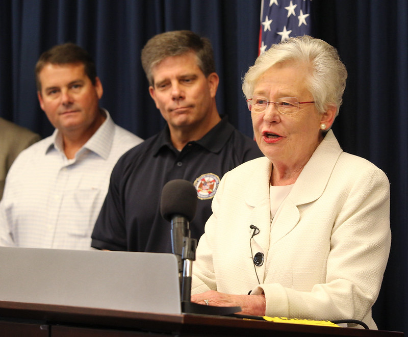 Governor Ivey discusses Tropical Depression Cindy at EMA Operations Center