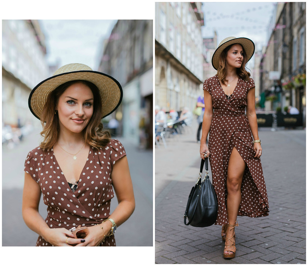 The Little Magpie Reformation brown polka dot dress