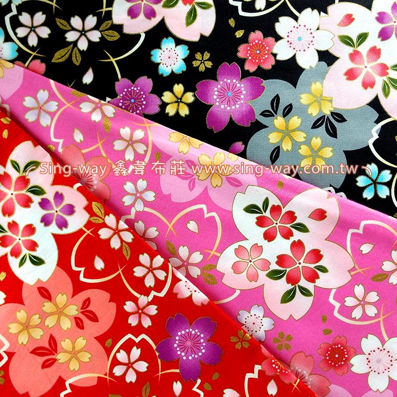 燙金彩櫻 日式和風燙金花卉 精梳棉床品床單布料 節慶佈置 紅包袋 CA490319