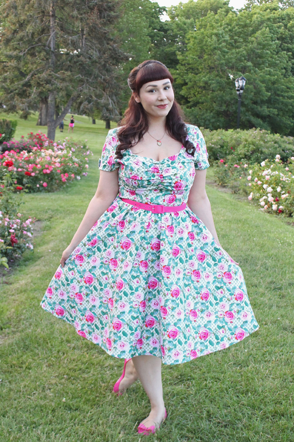 rose print dress unique vintage