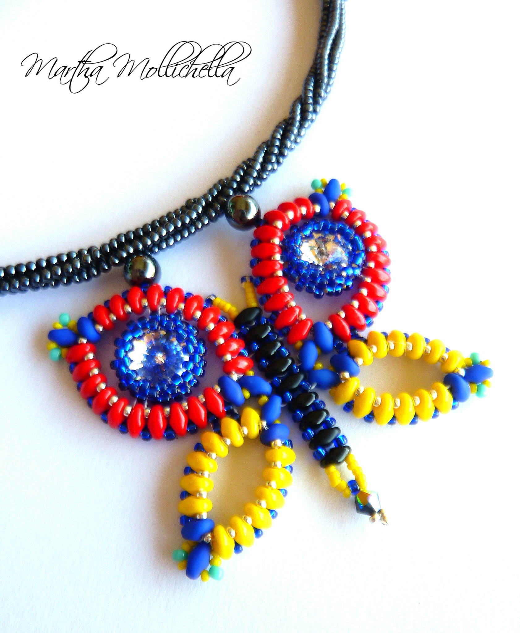 collana farfalla e Swarovski handmade by Martha Mollichella