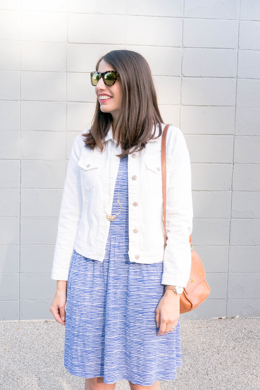 blue white old navy stripe dress + white denim jacket J.Crew Factory + tan sandals Target + J.Crew sunglasses; casual summer outfit | Style On Target blog