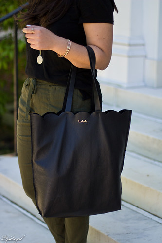 green linen pants, black tee, matine scalloped tote, panama hat-3.jpg | by LyddieGal