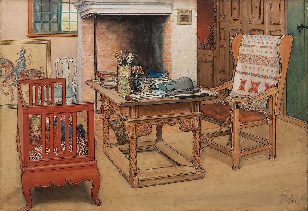 Carl Larsson - Peek-a-Boo [1901] | This watercolour shows
