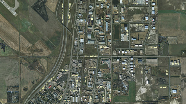 Aerial of 65 Avenue and QEII highway in Leduc