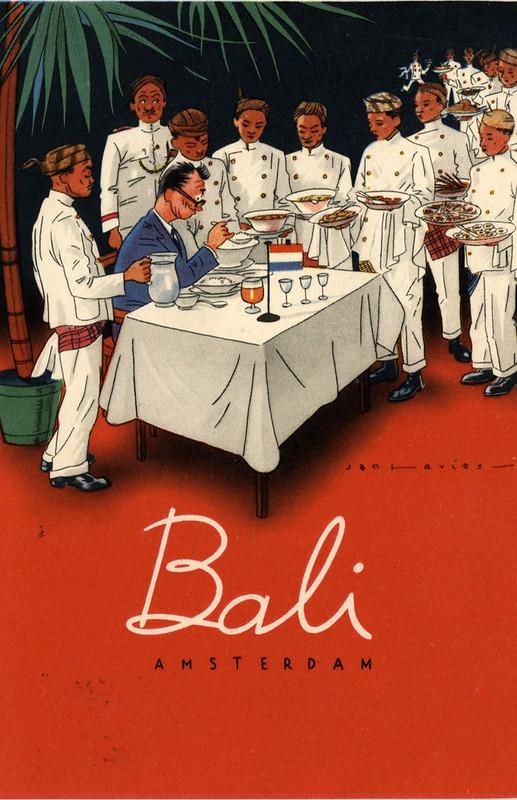 Ancienne carte postale pour le restaurant indonésien Bali à Amsterdam.