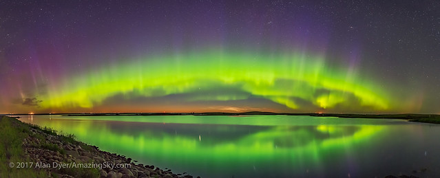 Auroral Arch over a Prairie Lake