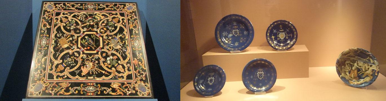 右)トスカーナ大公の工房《小鳥、花瓶、戦利品を表したテーブル天板(17世紀前半、貴石研究所美術館) 右)フォンターナ工房《ガラテアの凱旋の描かれた大皿》右下(1550-75年、アレッツォ国立中世・近代美術館)