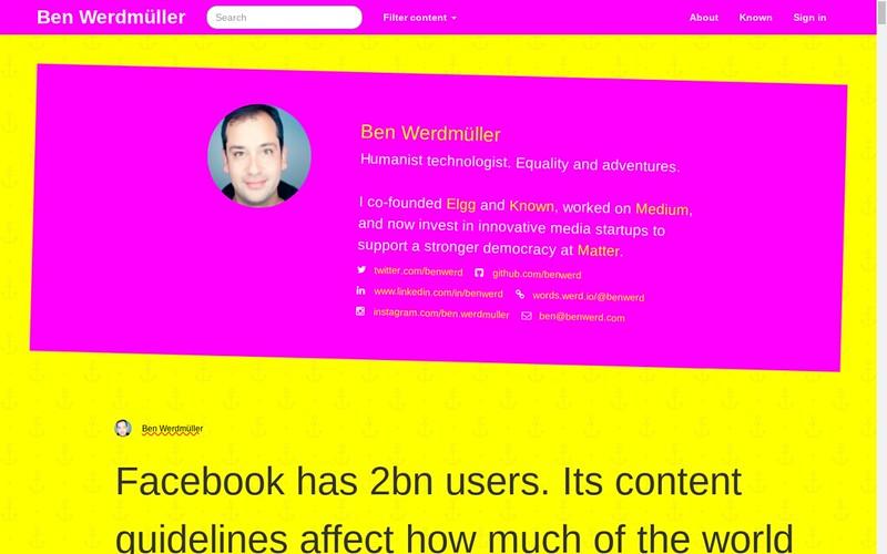 Ben Werdmuller homepage