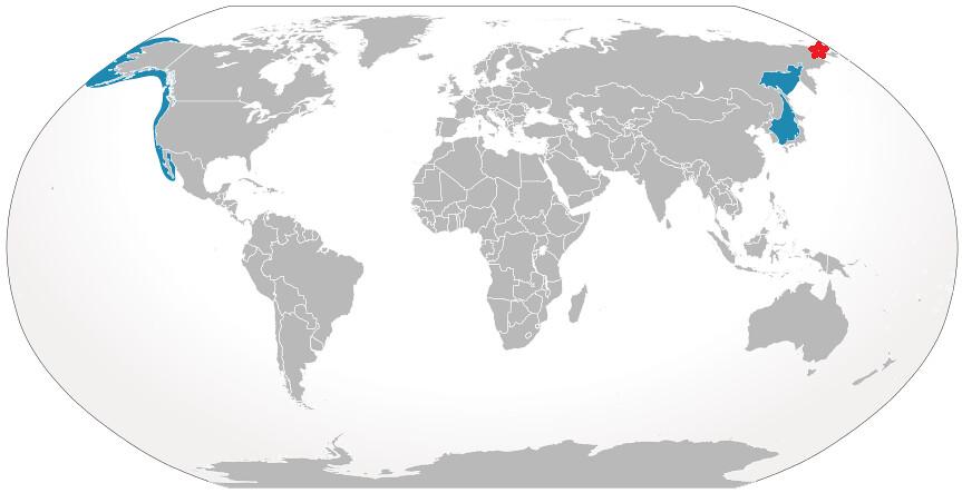 灰鯨分布圖。圖片來源:wiki(CC BY_SA 3.0)