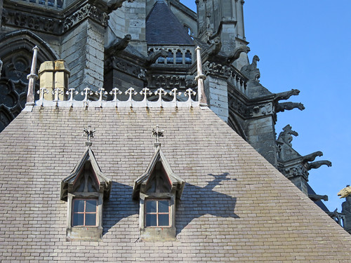 The roofline (with gargoyles) at the cathedral in Amiens, France