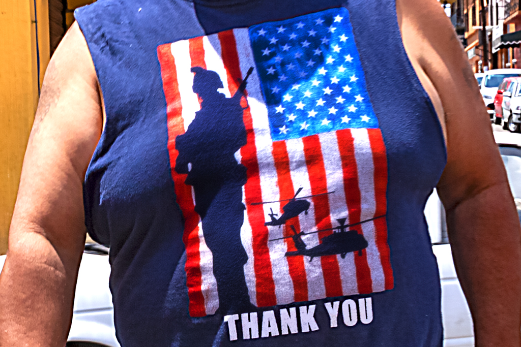 Man in muscle shirt with American flag and THANK YOU--Tepotzotlan (detail)