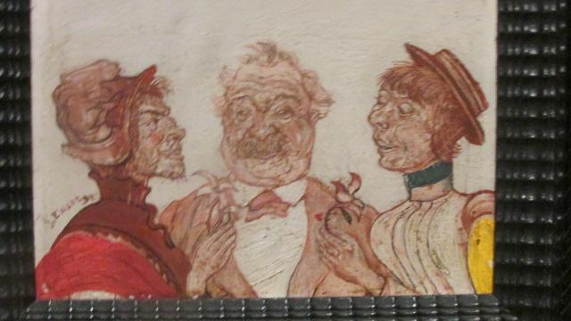 ジェームス・アンソ-ル《ソフィー・ヨテコと話すルソー夫妻》(1892年、個人蔵)