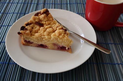 Quark-Kirsch-Kuchen mit Streuseln (letztes Stück)