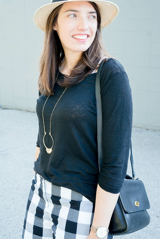 Loft gingham black and white shorts + J.Crew linen tee + target wedge sandals; casual summer outfit   Style On Target blog