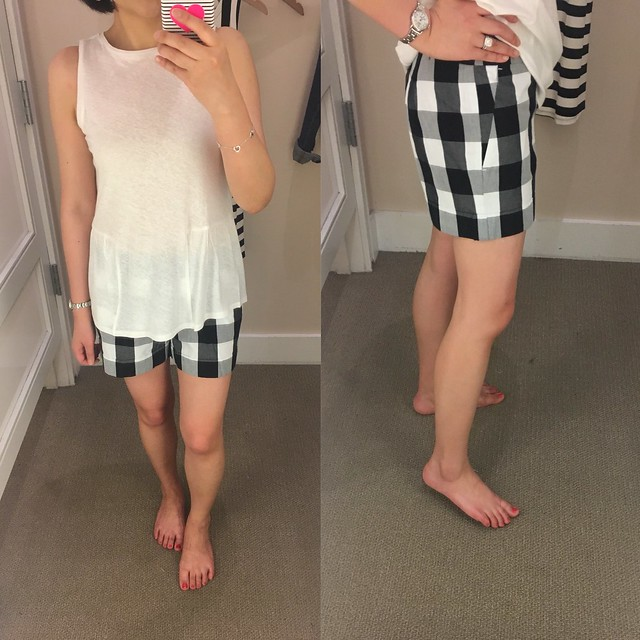LOFT Gingham Cuffed Shorts, size 24/00 regular