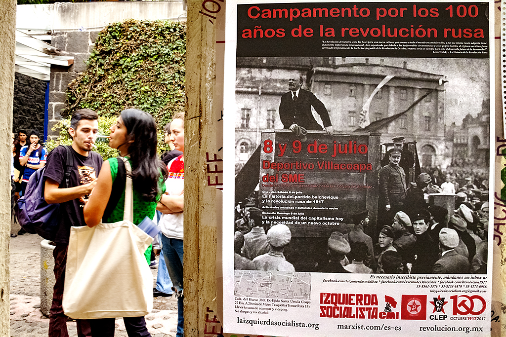 Poster with Lenin at university--Mexico City