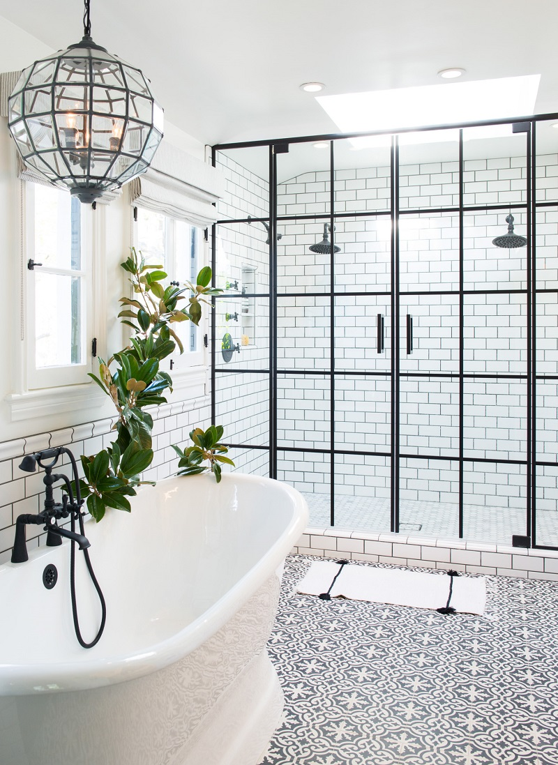 The 15 Best Tiled Bathrooms on Pinterest Black and White Mosaic Tiled Clean Simple Bathroom