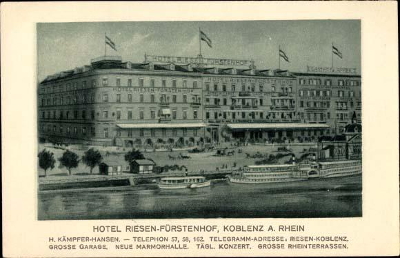 Hotel Riesen-Fürstenhof Koblenz, Postkarte ca. 1924, mit Dampferanlegestelle