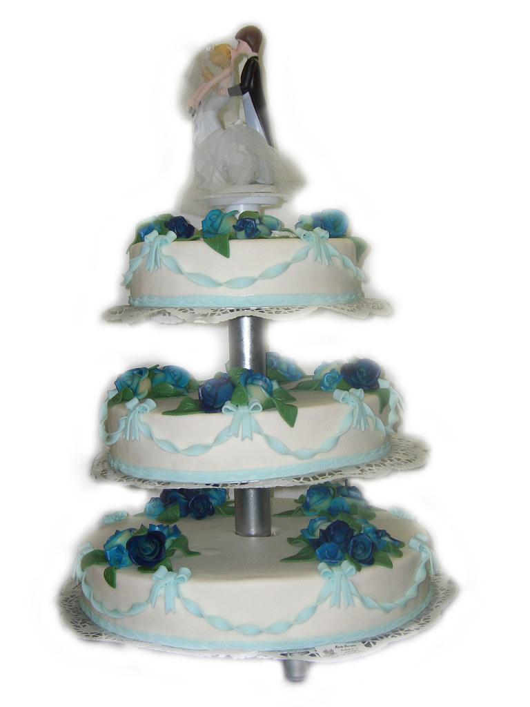 Hochzeitstorte 4 Stockig Rund Blaue Rosen 1 Stock Gastronomien