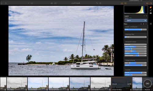 Screenshot of Luminar Interface