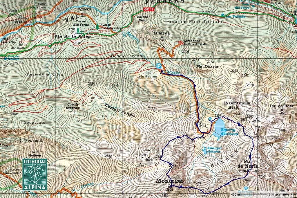 Itinerari sobre mapa de l'Editorial Alpina (Pica d'Estats/Mont-roig)