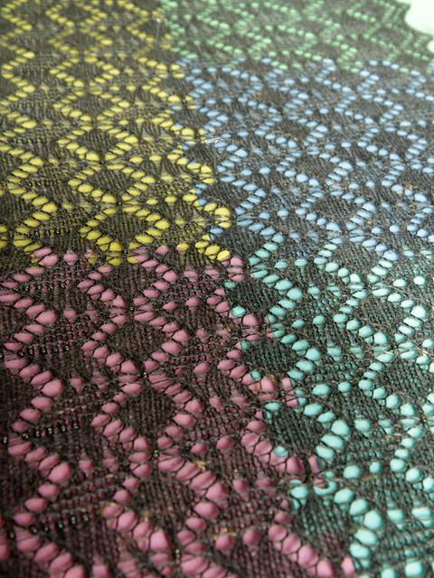 Blocking Crystalline lace shawl