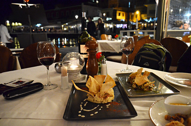 Mezes beside the harbour, Chania old town, Crete