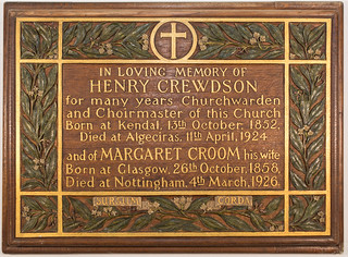 Memorial to Henry Crewdson (1924) | by Holy Trinity Church, Lenton