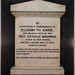 Memorial to Elizabeth Anne Browne (1870; wife of George Browne)
