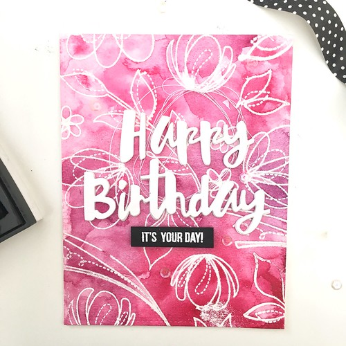 Happy birthday floral emboss resist | by Kimberly Toney