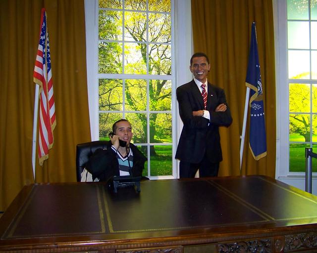 En el museo de cera del Madame Tussauds con Obama
