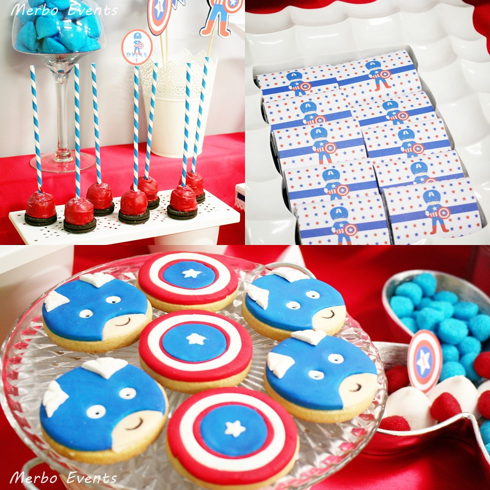 Centro De Mesa Capitán América: Mesa Dulce Capitan America