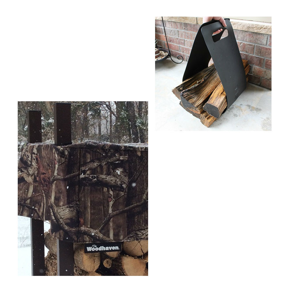 QBC Bundled Woodhaven Firewood Rack - 12ft Mossy Oak Camo Firewood Rack - Black - (4ft x 12ft x 14in) with Mossy Oak Cover and Woodhaven Log Carrier - Plus Free QBC Firewood Rack Guide