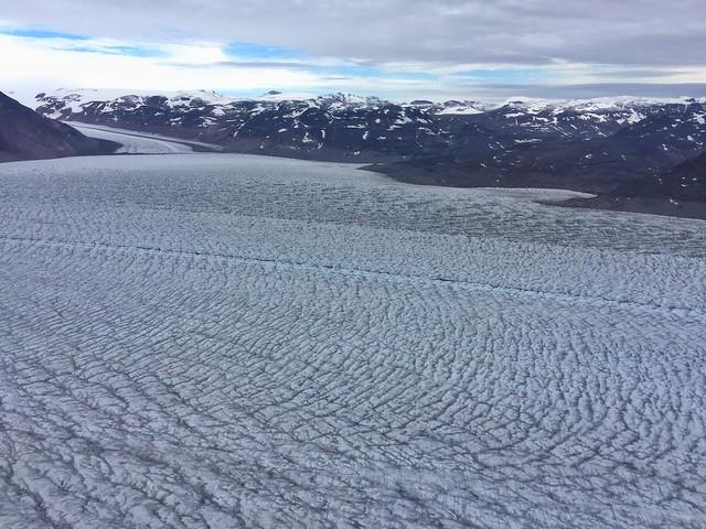 Glaciar Qorqup desde un helicóptero (Sur de Groenlandia)