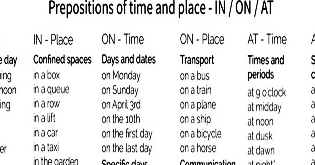 Prepositions of Time & Place: AT – IN – ON 4