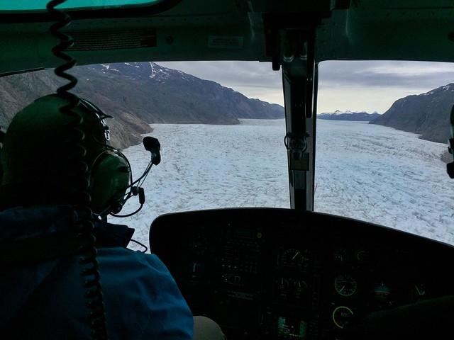 Glaciar Qoroq desde un helicóptero