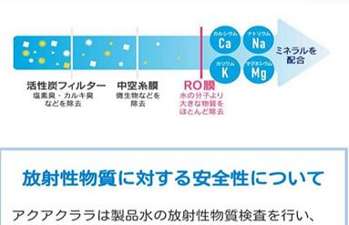 「檸檬瓦斯」的姐妹企業——桶裝水Aquaclara,也是跟客戶接觸頻繁的行業(要常去換水),該圖說明其安全製程,強調無輻射污染,工廠也不設在輻射超標處(位於福島核電200公里內與東京都的工廠,會監視注意有無輻射污染),可見日本消費者在此方面重視程度。