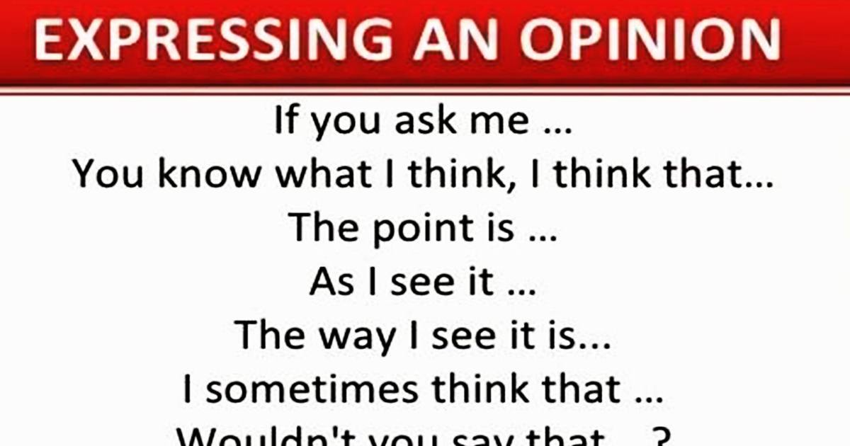 Useful Expressions to Express your Opinions 5
