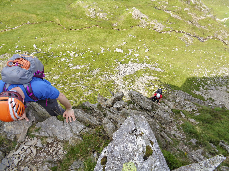 Working our way up the easier section of the Cneifion Arête