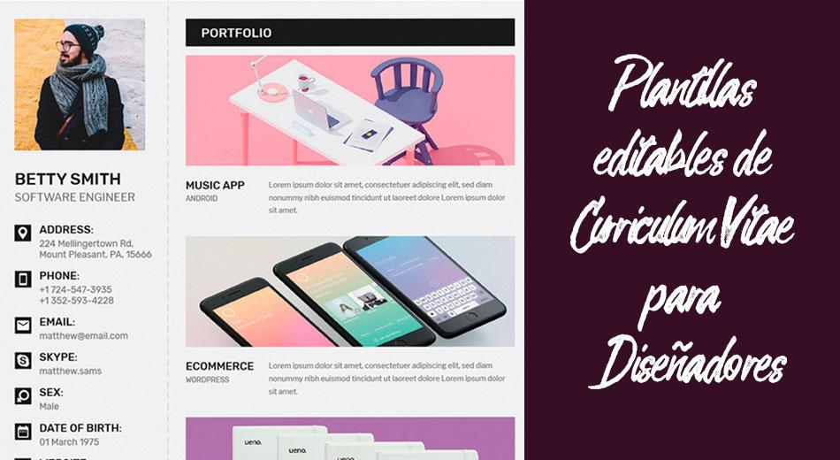 Plantillas editables de Curriculum Vitae gratuitas para diseñadores