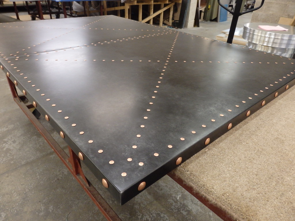 Awesome ... 191   Zinc Table Top, Dark Patina, Copper Studs | By Metal Sheets  Limited